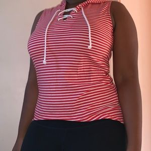 Tank Top Hoodie Red and White Striped Size M